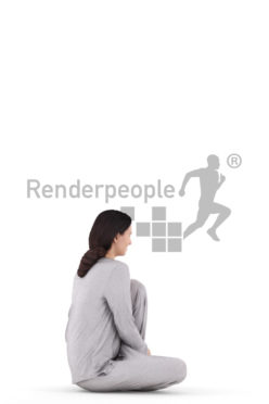 3D People model for 3ds Max and Maya  – white woman, sitting on the floor