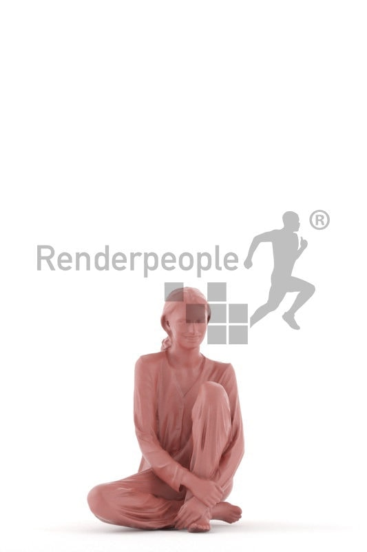 3D People model for 3ds Max and Maya – white woman, sitting on the floor, in sleepwear