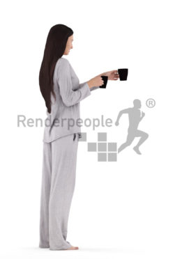 Posed 3D People model for visualization, white woman with sleepwear, offering coffee