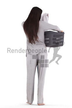 3D People model for 3ds Max and Maya, white woman in sleepwear, picking up laundry, with laundry basket