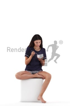 Photorealistic 3D People model by Renderpeople, white woman in sleepwear, sitting and eating