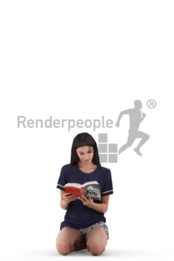 Scanned human 3D model by Renderpeople – white woman, crouching and reading a book