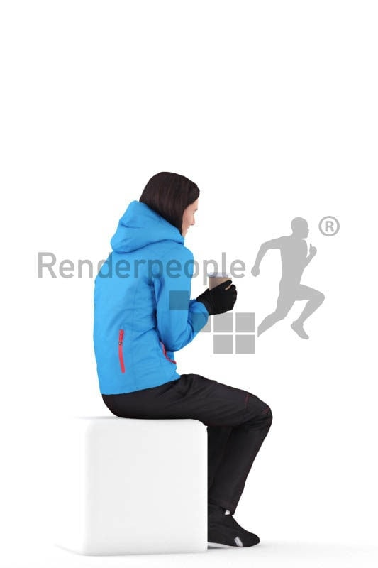 Scanned human 3D model by Renderpeople – white woman in skiing wear, sitting and holding a cup of coffee