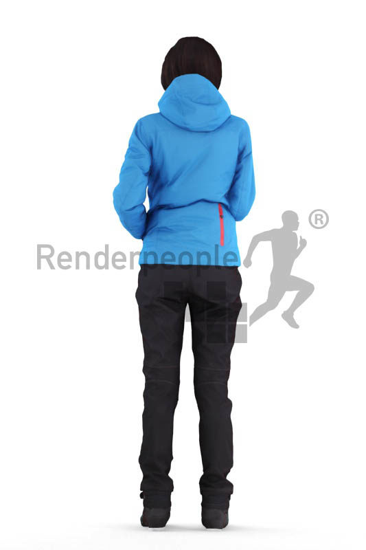 Posed 3D People model for renderings – white woman in skiing clothes, standing and communicating