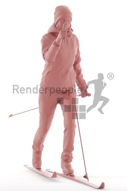 3D People model for 3ds Max and Blender, woman, skiing, with ski equipment