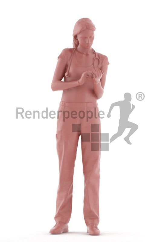 3D People model for 3ds Max and Sketch Up, doctor, woman, with gloves