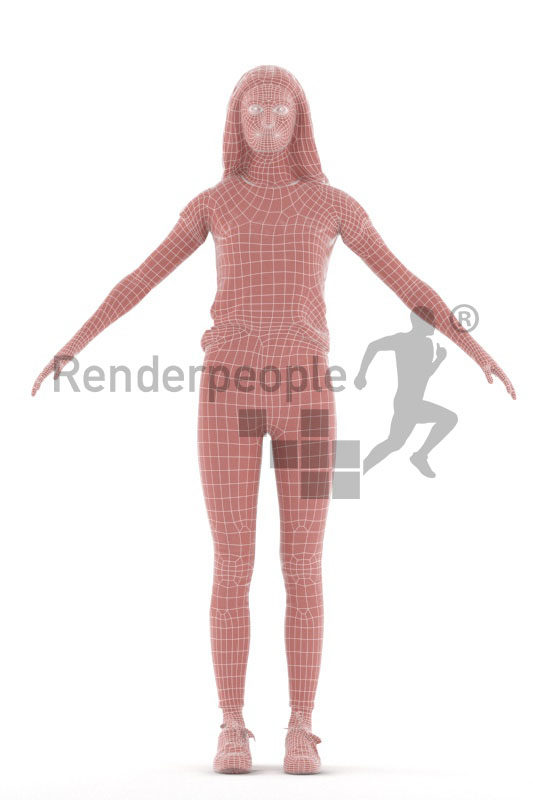 Rigged 3D People model for Maya and 3ds Max – european woman in a casual style