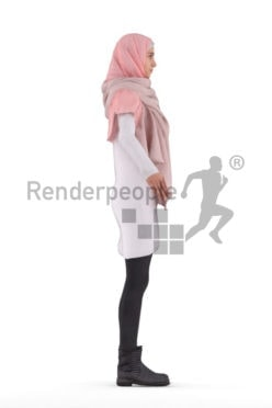 Rigged 3D People model for Maya and Cinema 4D – casual, woman with hijab