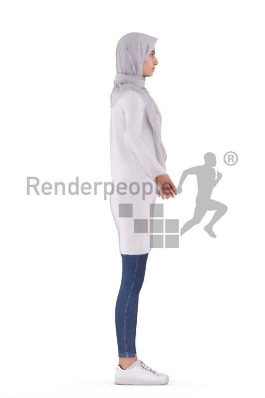 Rigged 3D People model for Maya and Cinema 4D – female, middle eastern, with hijab
