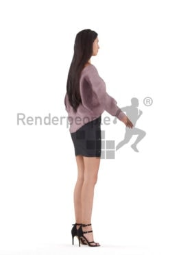 Rigged 3D People model for Maya and Cinema 4D – young woman in event look