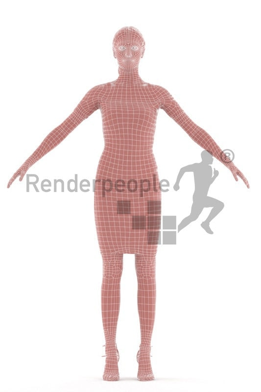 Rigged 3D People model for Maya and 3ds Max – european woman, event dress