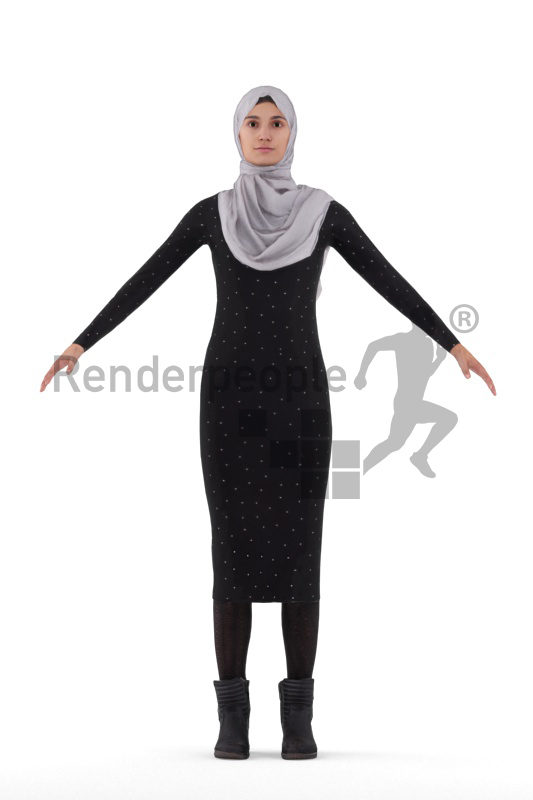 Rigged human 3D model by Renderpeople, woman with hijab
