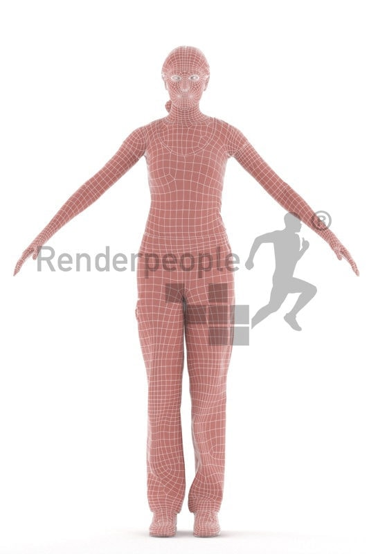 Rigged and retopologized 3D People model – european woman, medical