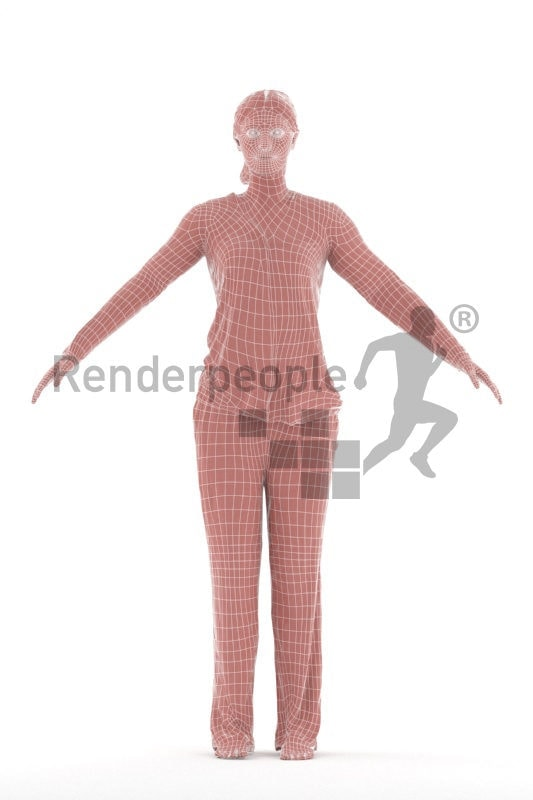 Rigged and retopologized 3D People model, white woman, sleepwear