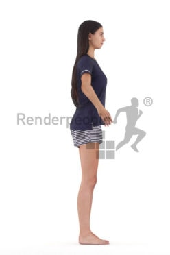Rigged and retopologized 3D People model – european woman in shorty pyjama