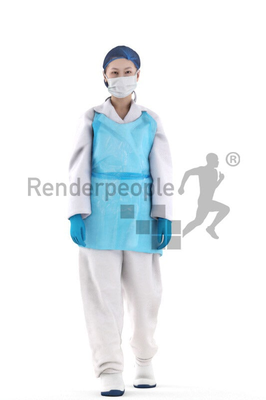Posed 3D People model by Renderpeople – asian woman in medical safety clothes, walking