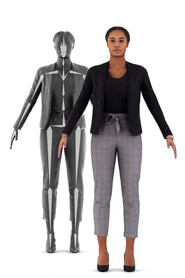 Scanned rigged 3D People model. Ready for animation. Free of charge. Black woman. Business Clothing. Side Perspective.
