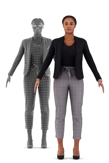 Scanned rigged 3D People model. Ready for animation. Free of charge. Black woman. Business Clothing.