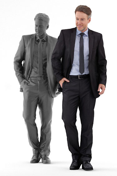 Scanned posed 3D People model. Free of charge. Standing man in suit. Business Clothing. Side Perspective.