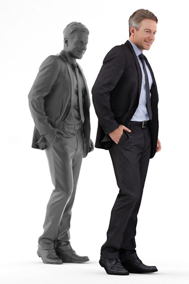Scanned posed 3D People model. Free of charge. Standing man in suit. Business Clothing.