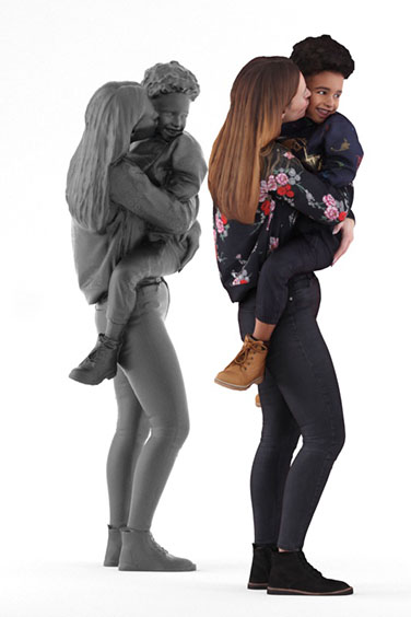 Scanned posed 3D People model. Free of charge. Mother with Child on her arms. Casual Clothing.