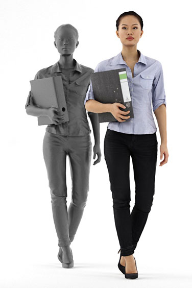 Scanned posed 3D People model. Free of charge. Walking Asian woman with ring binder. Business Clothing. Side Perspective.