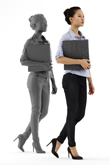 Scanned posed 3D People model. Free of charge. Walking Asian woman with ring binder. Business Clothing.